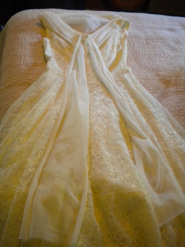 Vintage 1950s Tea Length Party Dress a la Miss Pretzel wedding