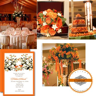 Black And White Wedding Reception Centerpieces. Orange, black and white sample