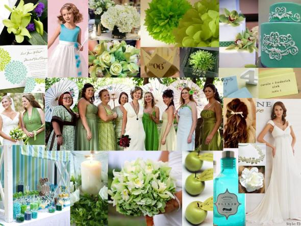 Green Inspiration Board with hints of blue and sea glass wedding green