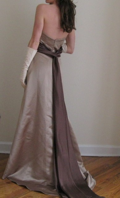 BILL LEVKOFF Style 966 TAUPE CHOCOLATE Bridesmaid Dress Size 8 60 wedding