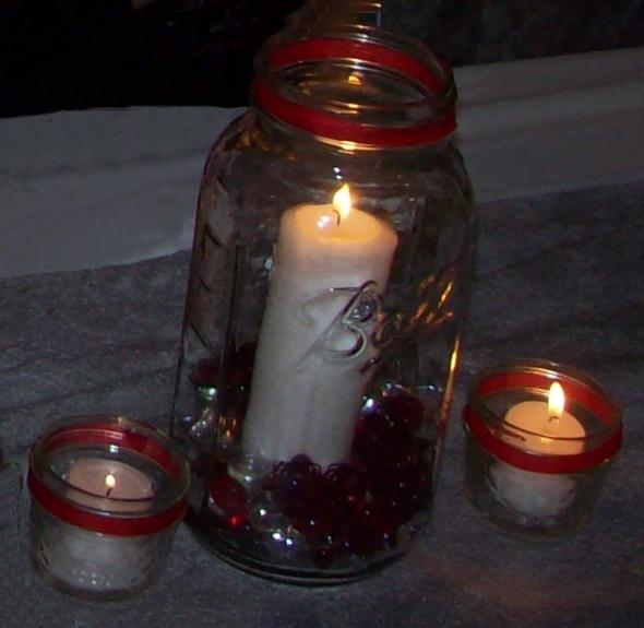 Two very different kinds of centerpieces wedding candle centerpieces mason