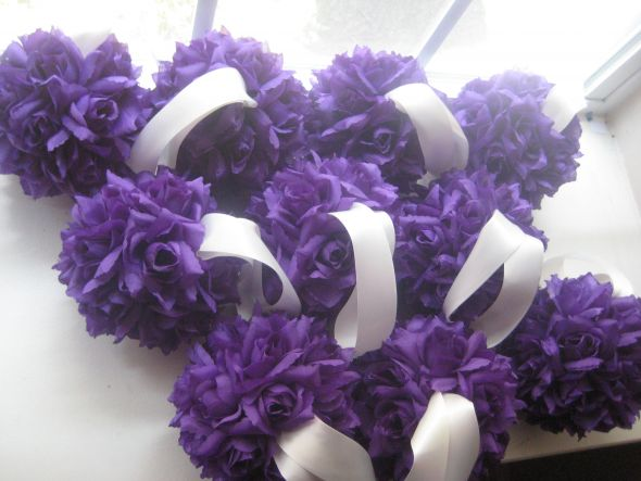 Purple Eggplant and Taupe Wedding Decor wedding brown purple bouquet