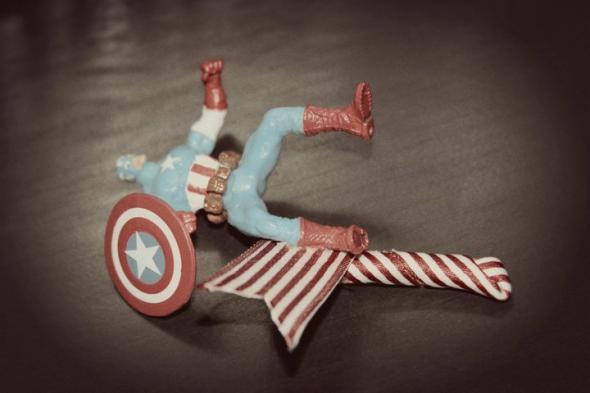 Captain America Boutonniere :  wedding blue comics diy red super hero white CaptainAmericaBout