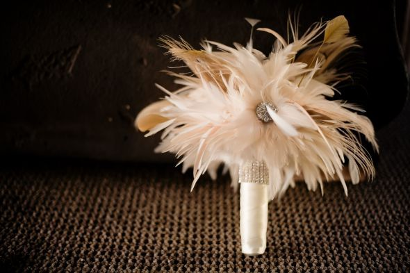Feather Bouquet! It was a eye catcher at my wedding! : wedding feather bouquet feather bouquet vintage cream ivory teal IMG 10222