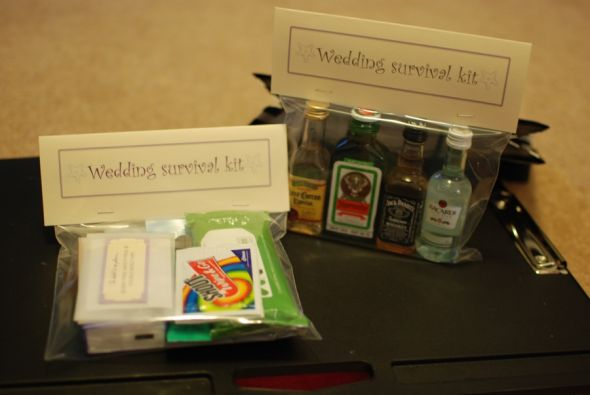 DIY bridesmaid and groomsmen survival kits.