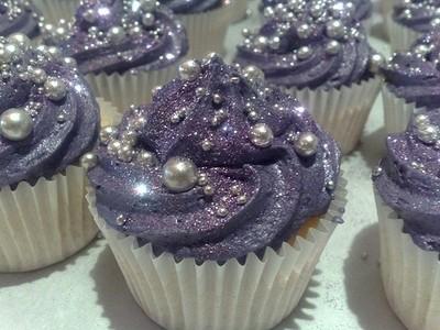 wedding cupcakes tulips eggplant Purple Cupcakes