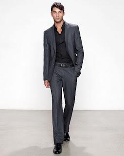 grey jacket black pants