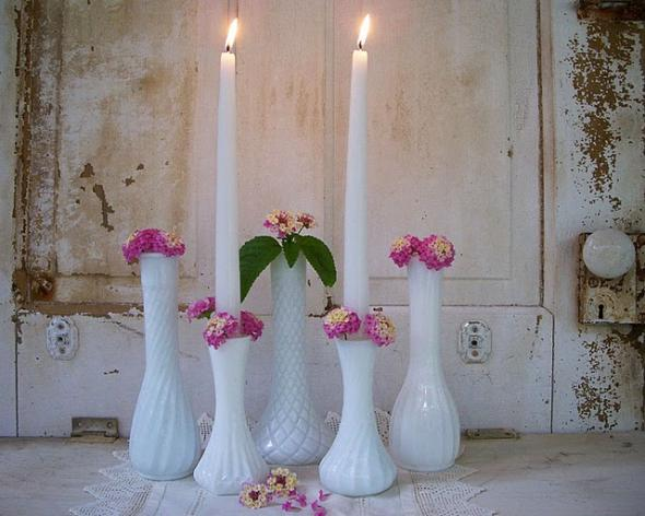 Milkglass Bud Vases wedding Cake Stands