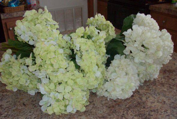 Lime green silk and white latex hydrangeas wedding green white flowers