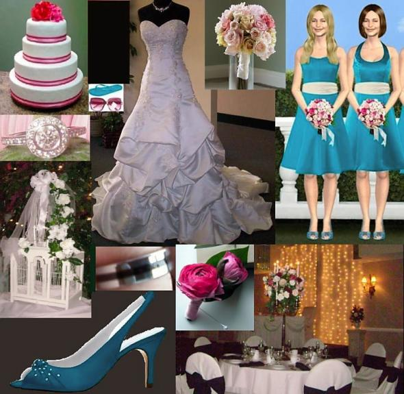 Teal Champagne Pops of Pink wedding teal aqua ivory pink fuschia