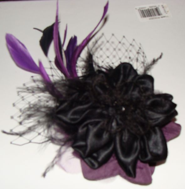 Custom Made Plum Black Fascinator Hair Accessory wedding plum black