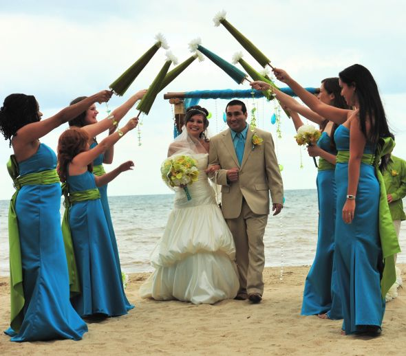 my colors were chartreuse and turquoise i thought it was a good combination tangerine and turquoise weddings