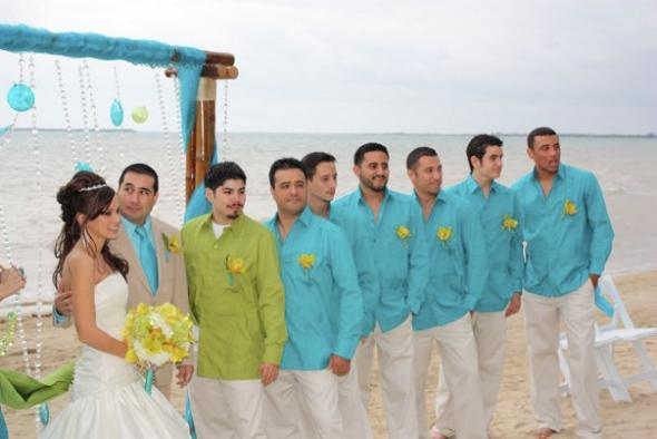 The Groom and groomsmen 39s beach attire was casual with - Yes ...