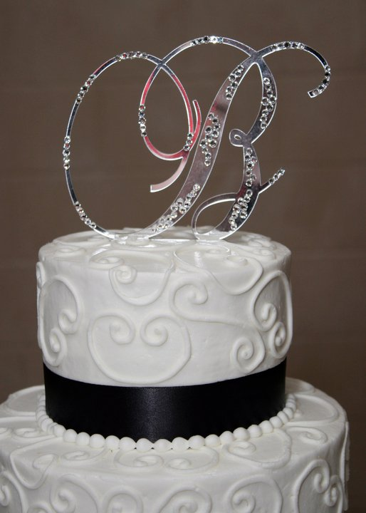 Initial B Wedding Cake Topper With Bling wedding cake topper swarovski