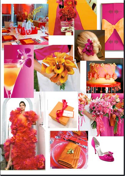 Fuschia and Tangerine orangewhat do you think wedding fuschia