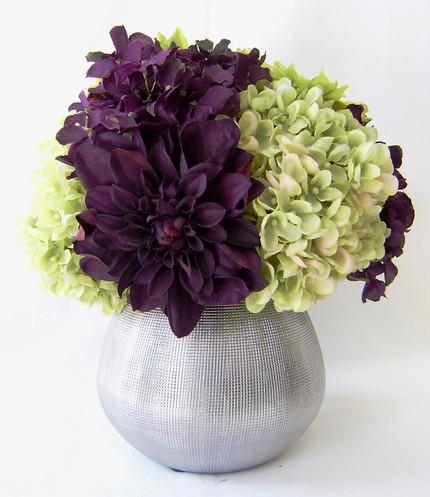 Bridesmaids Bouquets Eggplant Hydrangeas Green Hydrangeas Eggplant