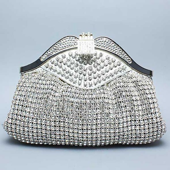 Mesh Swarovski Clutch - White Clutches collection