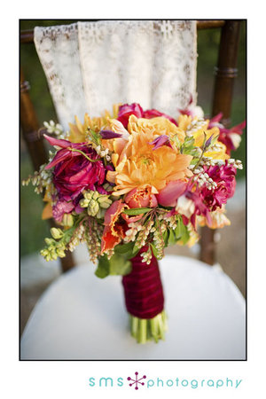 Flowers to match red purple and dark fuschia bridesmaids dresses