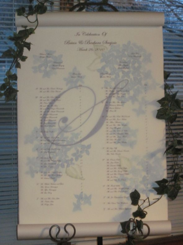 Custom Wedding Seating Chart or Seating Scroll Instead of Place Cards