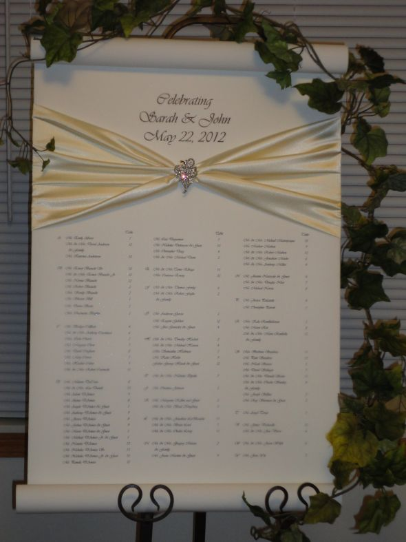 Wedding Seating Chart or Seating Scroll an alternative to place cards