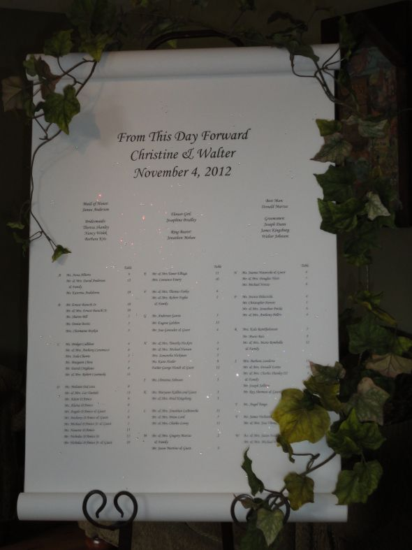 Creative Wedding Ideas custom wedding seating chart or seating scroll