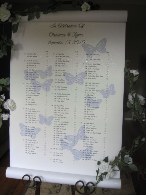 Belle Jardine Seating Charts and seating scrolls are custom designed and