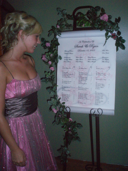 Wedding reception seating chart or wedding seating scroll instead of place