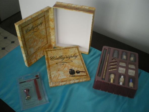 stuff in Chocolate Ivory Gold turquoise wedding Caligraphy Set And