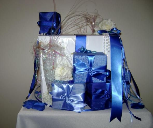 2 card boxes left in royal blue and light blue silver and pink