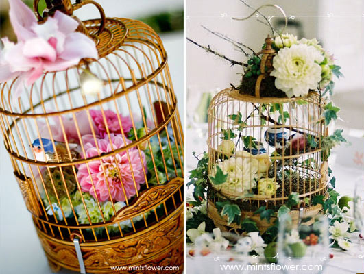 Looking for Bird Cage Centerpieces :  wedding bird cage birdcage centerpiece floral flower decor Birdcage Flower Centerpiece2