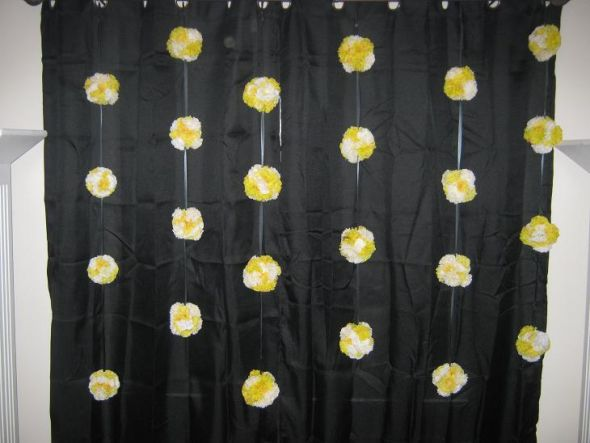 Pomander Backdrop wedding white yellow ceremony diy Backdrop