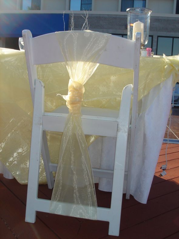 How to make these chairs less hideous wedding chairs Yellow Sash White