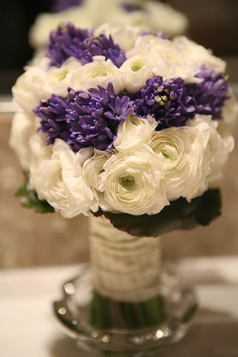 Flowers Delimma wedding bouquet boutinniere flowers White And Purple 3