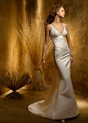 Bintou\'s blog: White Silk satin fit and flare bridal gown empire ...