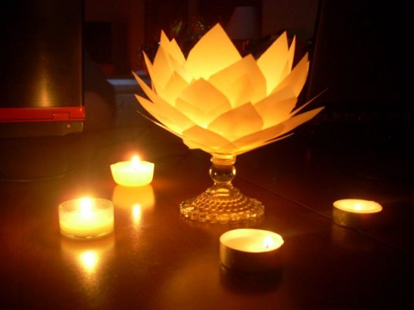 wedding centerpiece flower paper glowing lotus