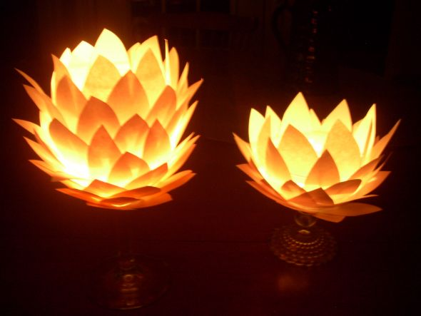 Glowing paper flower centerpiece mockups attempt 1 and maybe different paper origami or patterned scrapbook paper might be neat im thinking 3 5 pieces plus a mirror underneath would look really nice for mightylinksfo