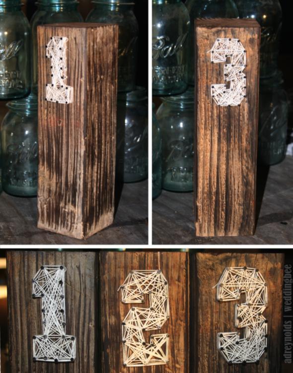 DIY Rustic Table Numbers wedding rustic diy table numbers wood string