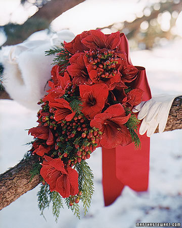 Christmas Wedding wedding Msw Fall00 Bouquet Reds Xl