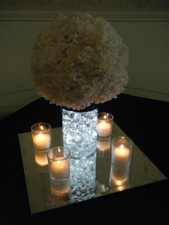 Bre2Be 39s Carnation Pom Centerpieces wedding carnation pomander water