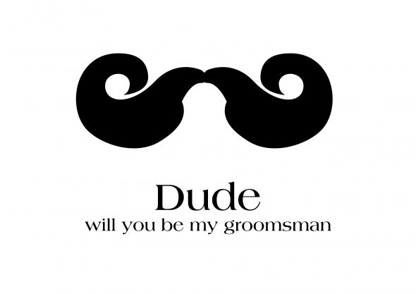 Will You be My Groomsman Cards :  wedding groomsman card ask diy paper black white Groomsman Card Mustache A4