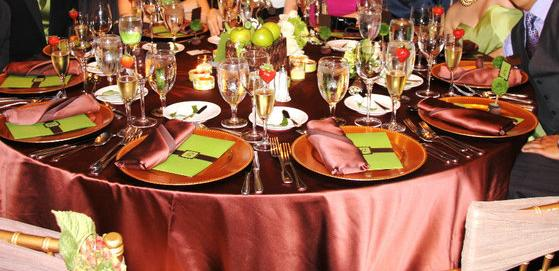 Green BrownChicago wedding linen table cloths brown gold GOLD chargers