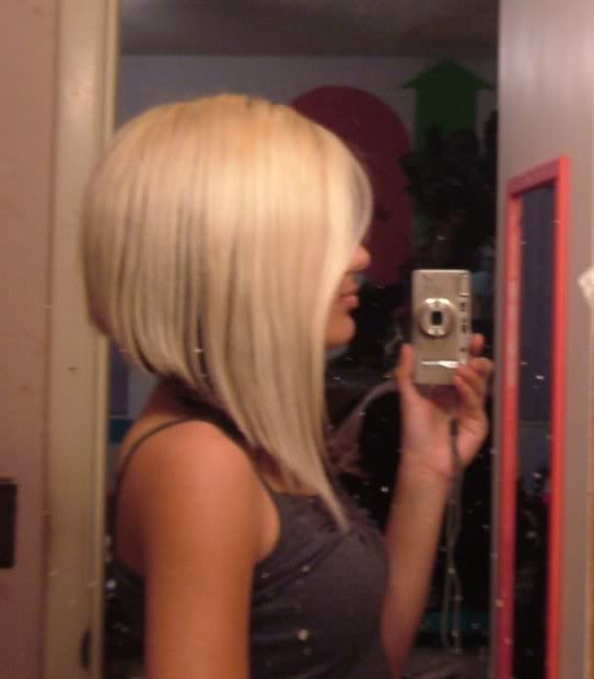 A-line haircut: were it is short in back but long in front. Like this: