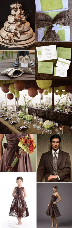 Help me put together an idea wedding Chocolate Burlap Green Wedding