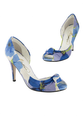 My shoes are Blue Cosmos print from David 39s Bridal They are just so cute