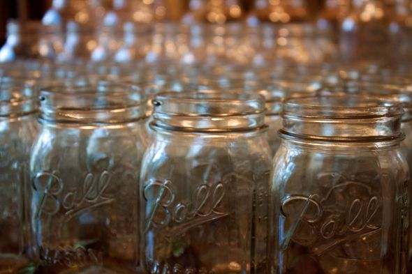 I recently got all of my Ball Mason jars for my centerpieces and some other