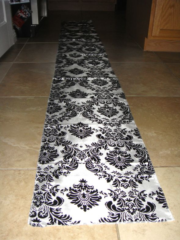 Black White Damask Runners wedding damask runner black white DSC00856