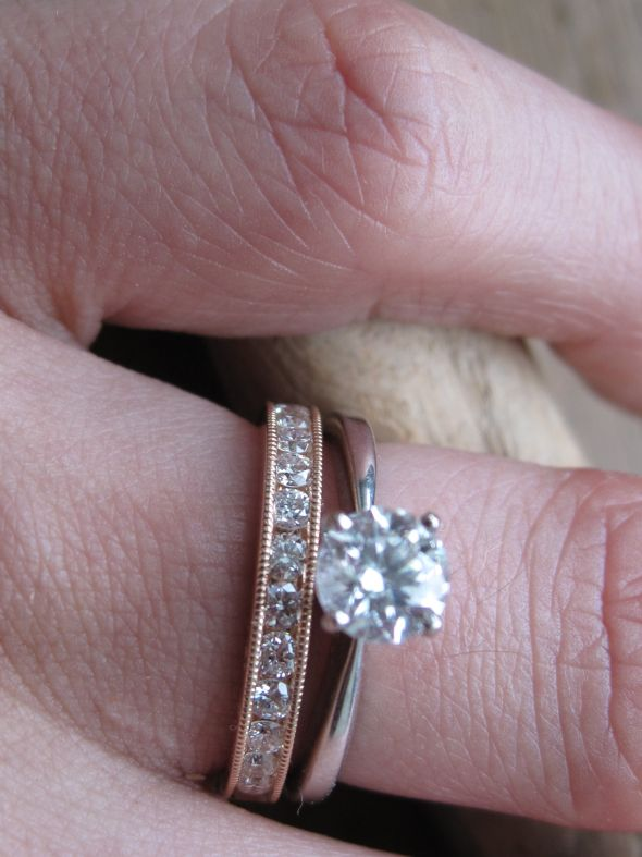 My wedding band is made from rose gold with milgrain edging and diamonds