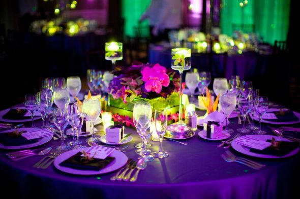 purple wedding table centerpieces
