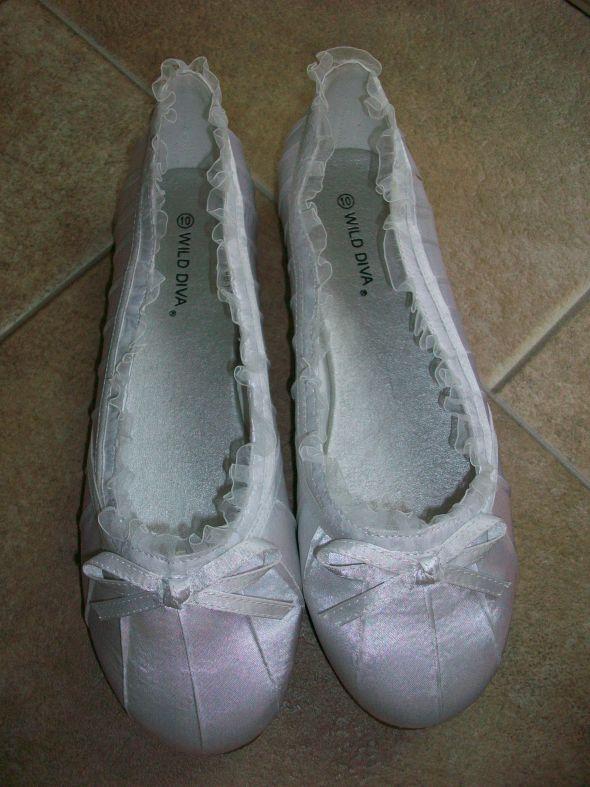 white wedding ballerina flats