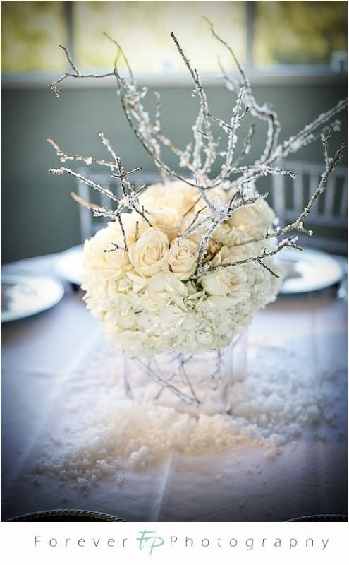 Roses and hydrangea Here 39s an example Centerpiece Trial wedding winter